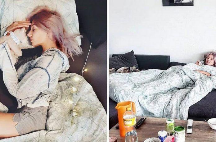 Dwa zdjęcia dziewczyny leżącej w łóżku