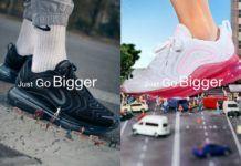 Czarny i różowy but Nike z napisem Just Go bigger