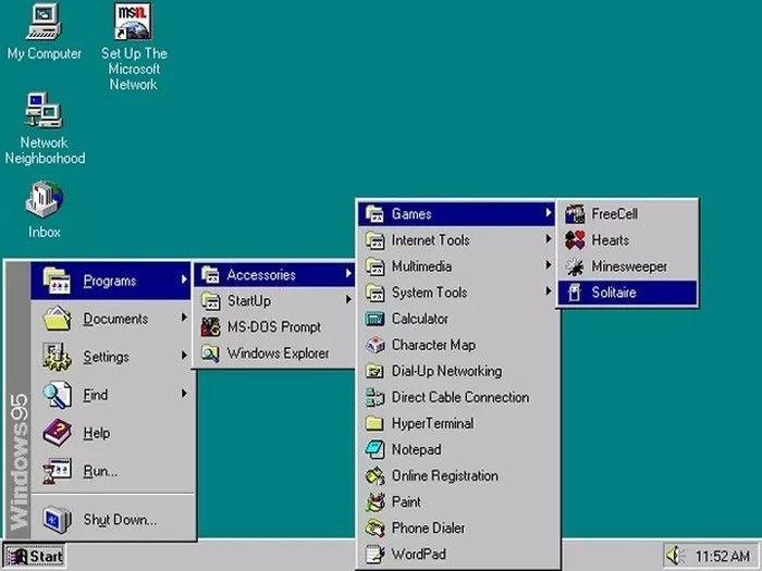 Menu z Windowsa 97