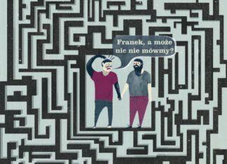 Ilustracja dwóch mężczyzn w labiryncie