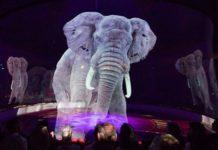 Słoń w postaci hologramu
