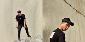 Dwa zdjęcia mężczyzny ubranego na czarno