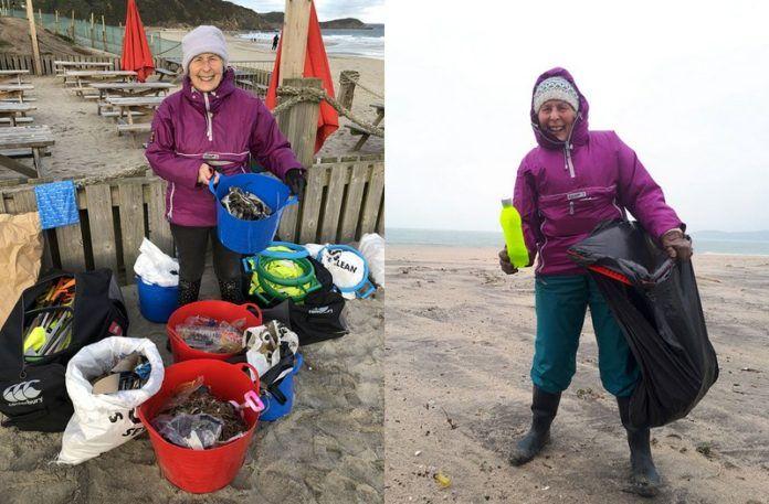 Kobieta zbierająca śmieci