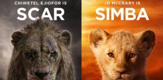 Plakat z dużym i małym lwem