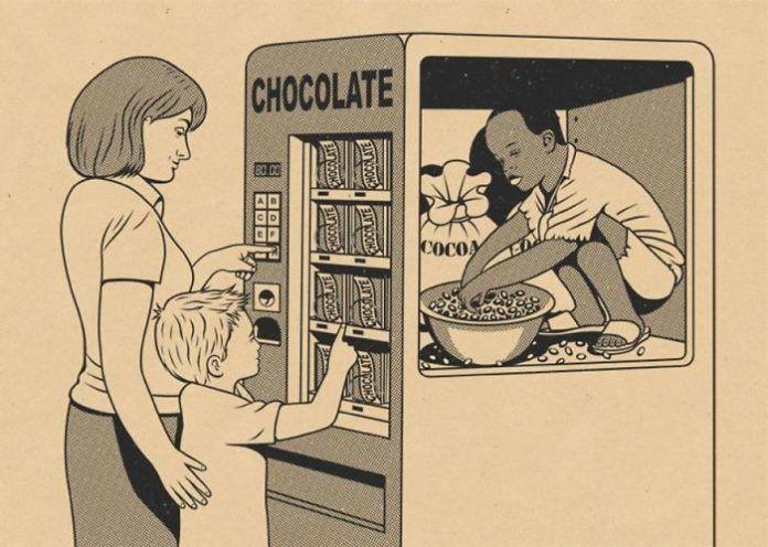 Ilustracja przedstawiajaca dziecko w automacie z przekaskami