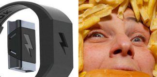 Bransoletka i osoba jedzaca hamburgera