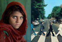 Portret dziewczyny w chuście i 4 ludzi przechodzących przez pasy