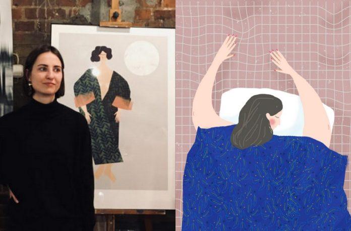 Kobieta stojąca przy sztaludze z ilustracją i ilustrracja przedstawiająca śpiącą kobietę