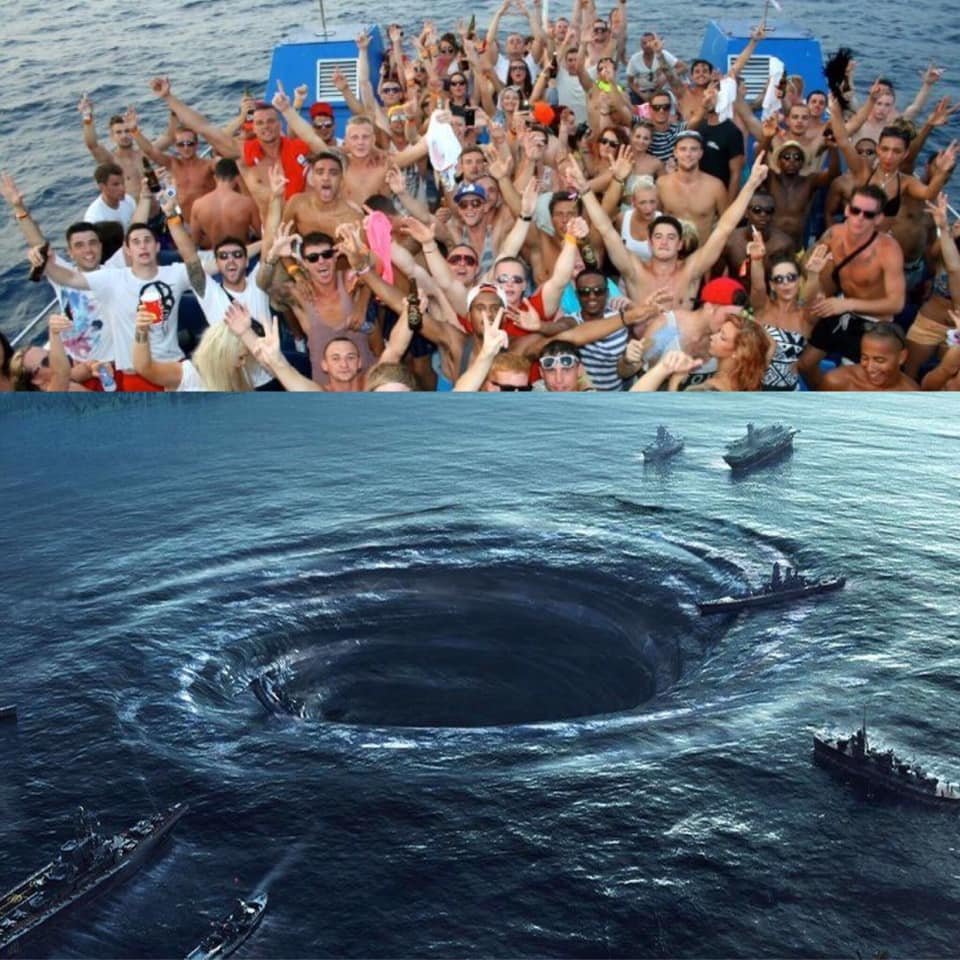 Grupa ludzi i wir wodny