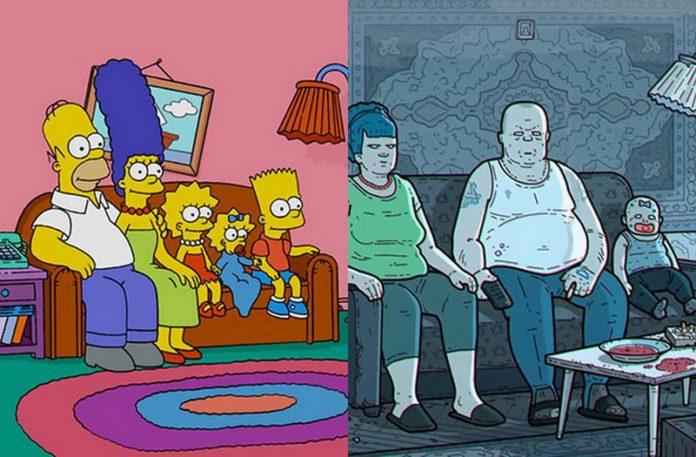 Zrzut ekranu z intra The Simpson i przeróbki