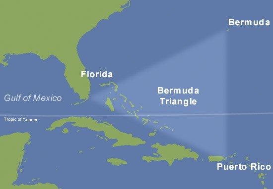 Mapa z zaznaczonym trójkątem bermudzkim