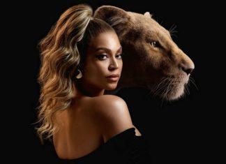 Podwójny portret kobiety i lwicy na jednym zdjęciu