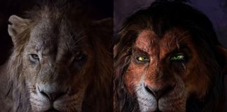 Postać Skazy z króla lwa w dwóch wersjach