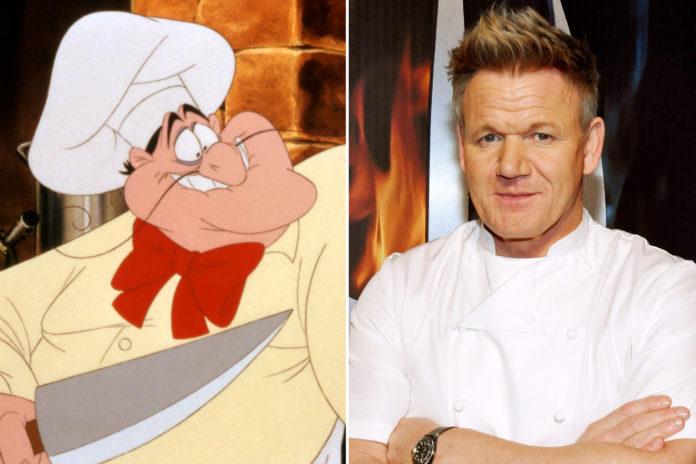 Postać szefa kuchni z kreskówki i mężczyzna w stroju kucharza
