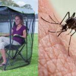 Kobieta siedząca w fotelu i komar na skórze