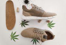 Trzy buty lezace dookola lisci konopi