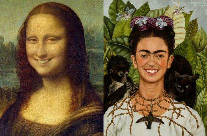 Mona Lisa i Frida Khalo z uśmiechem