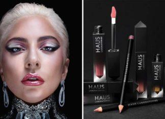 Kobieta na pierwszym planie, mocny makijaż oczu, różowe usta, długie wiszące kolczyki