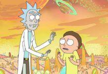 Rick i Morty na pomarańczowym tle, za nimi planety