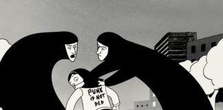 Fragmet komiksu w czerni i bieli