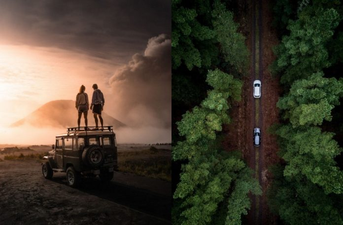 Para stojąca na samochodzie i widok drogi z dwoma samohodami z góry