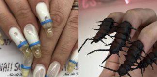 Paznokcie w kształcie butelek dla dziecka i w kształcie robaków