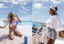 Dwa zdjęcia przedstawiające dziewczynę na wakacjach