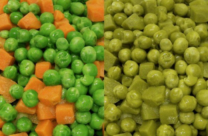 Zielony groszek z zieloną marchewką i zielona papka