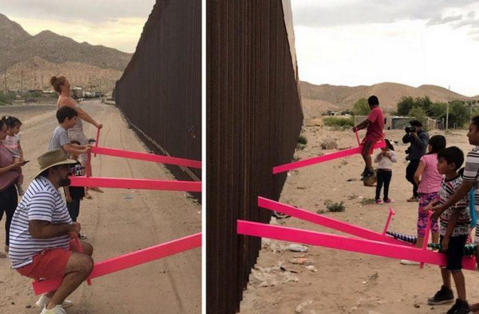 Huśtawki zamontowane przy murze
