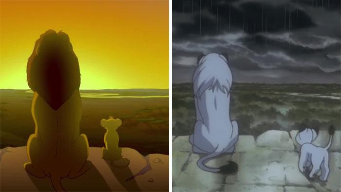 Porównanie dwóch scen, dwa lwy siedzące na wzgórzu