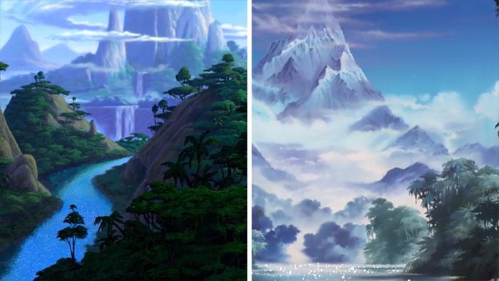Porównanie dwóch scen, widoki, niebieska woda i góra
