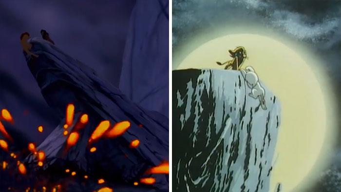 Porównanie dwóch scen, lew na górze