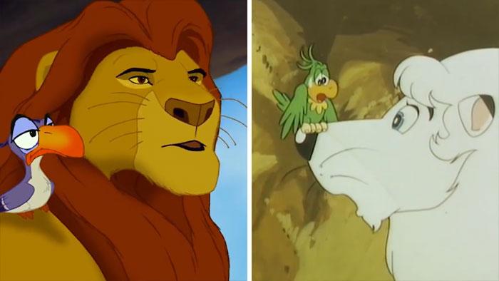 Porównanie dwóch scen, lew i ptak