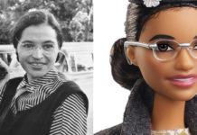 czarno-białe zdjęcie kobiety w okularach i zdjęcie lalki przedstawiające tę kobietę