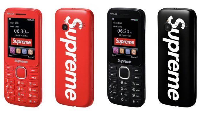Cztery telefony marki Supreme, czerwone i czarne, duże logo Supreme na tyle