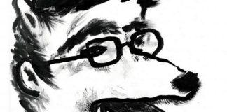 Rysunek przedstawiający psa w okularach