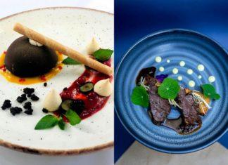 Dwa zdjęcia przedstawiające jedzenie na talerzu