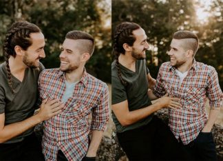 Dwa zdjęcia przedstawiające parę mężczyzn
