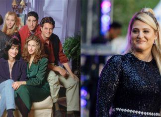 Kadr z serialu przyjaciele i blondynka w czarnej sukience stojąca przy mikrofonie