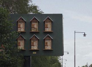 Ule dla pszczół na tyłach billboardów