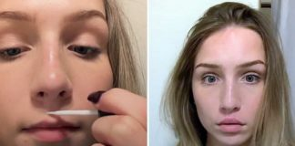 Zdjęcie dziewczyny przyklejającej wargę do nosa