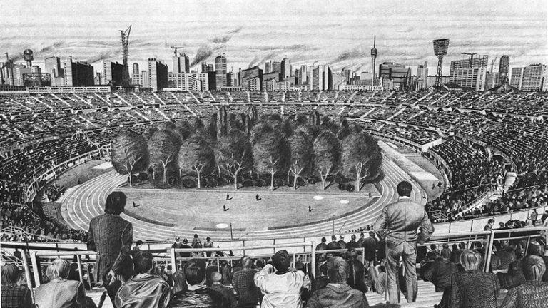 Rysunek przedstawiający las na stadionie
