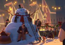 Animacja przedstawiająca gigantycznego bałwana i ludzi dookoła niego