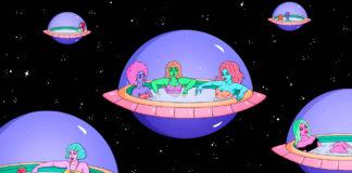 Ilsustracja przedstawia statki kosmiczne, w których siedzą kobiece postacie