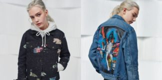 Dwa zdjęcia dziewczyny ubranej w kolekcję Levi's x Star Wars