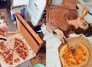 Dwie dziewczyny jedzące pizze