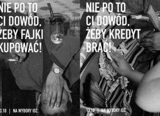 Dwa czarno-białe plakaty wyborcze