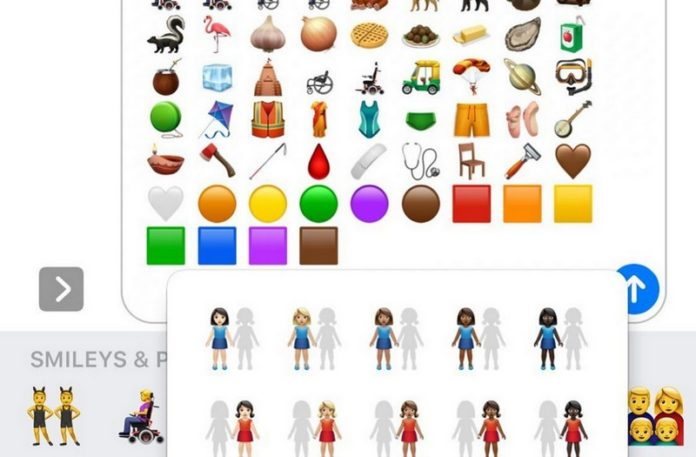 Zrzut ekranu z telefonu przedstawiający nowe emoji