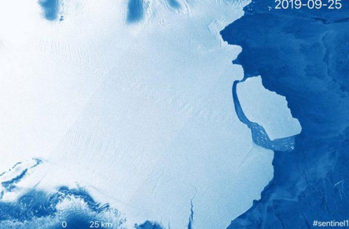 Wizualizacja przedstawiająca lodowiec