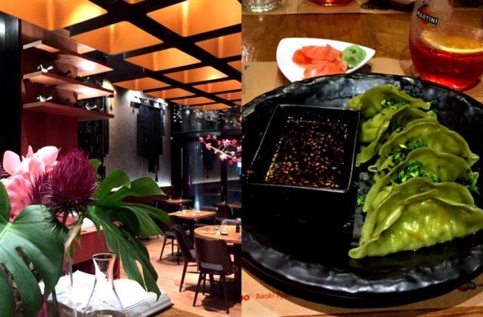 Wnętrze lokalu i danie na talerzu